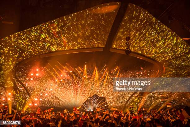 Lucie Jones the contestant from the United Kingdom performs at the Eurovision Grand Final on May 13 2017 in Kiev Ukraine Ukraine is the 62nd host of...