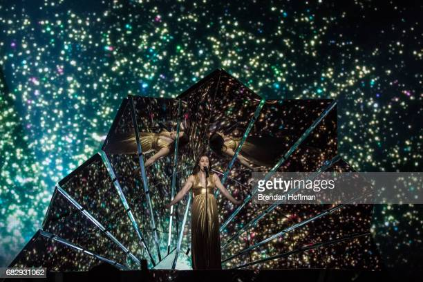 Lucie Jones the contestant from the United Kingdom performs during a rehearsal for the Eurovision Grand Final on May 12 2017 in Kiev Ukraine Ukraine...