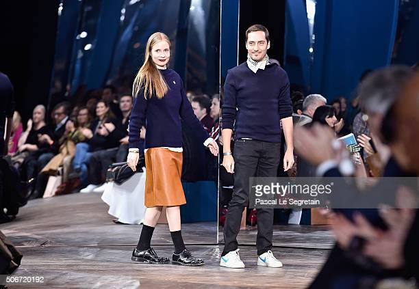 Lucie Meier and Serge Ruffieux walk the runway during the Christian Dior Spring Summer 2016 show as part of Paris Fashion Week on January 25 2016 in...