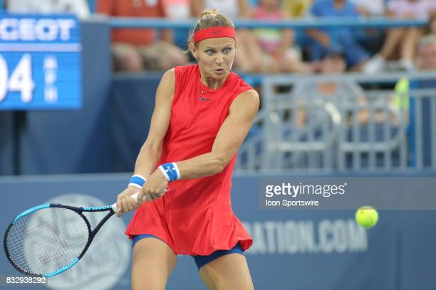 Lucie Safarova hits a backhand during the Western Southern Open at the Lindner Family Tennis Center in Mason Ohio on August 15 2017