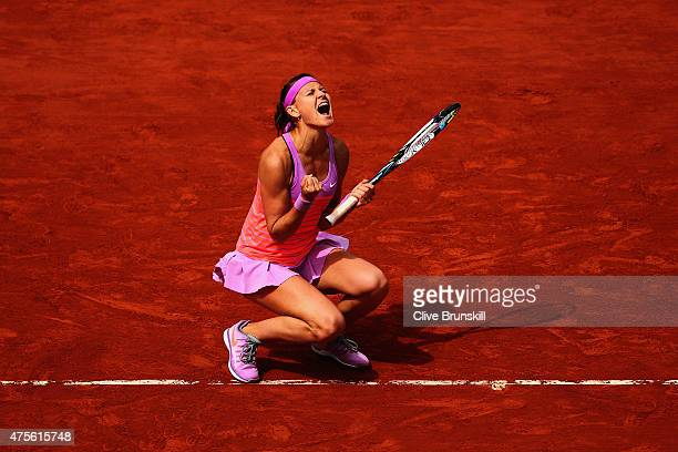 Lucie Safarova of Czech Repbulic celebrates match point in her Women's quarter final match against Garbine Muguruza of Spain on day of the 2015...