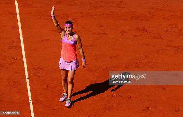 Lucie Safarova of Czech Repbulic celebrates winning in her Women's Semi final match against Ana Ivanovic of Serbia on day twelve of the 2015 French...