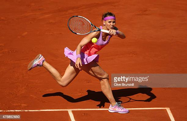 Lucie Safarova of Czech Repbulic returns a shot during her Women's Semi final match against Ana Ivanovic of Serbia on day twelve of the 2015 French...
