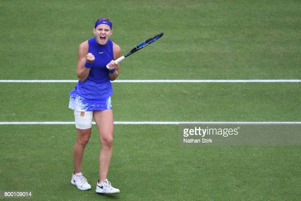 Lucie Safarova of Czech Republic celebrates after winner the quarter final match against Daria Gavrilova of Australia on day five of The Aegon...