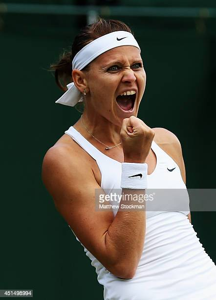 Lucie Safarova of Czech Republic celebrates after winning her Ladies' Singles fourth round match against Tereza Smitkova of Czech Republic on day...