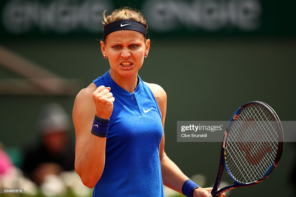 Lucie Safarova of Czech Republic celebrates during the Ladies Singles third round match against Samantha Stosur of Australia on day six of the 2016 French Open at Roland Garros on May 27, 2016 in Paris, France.
