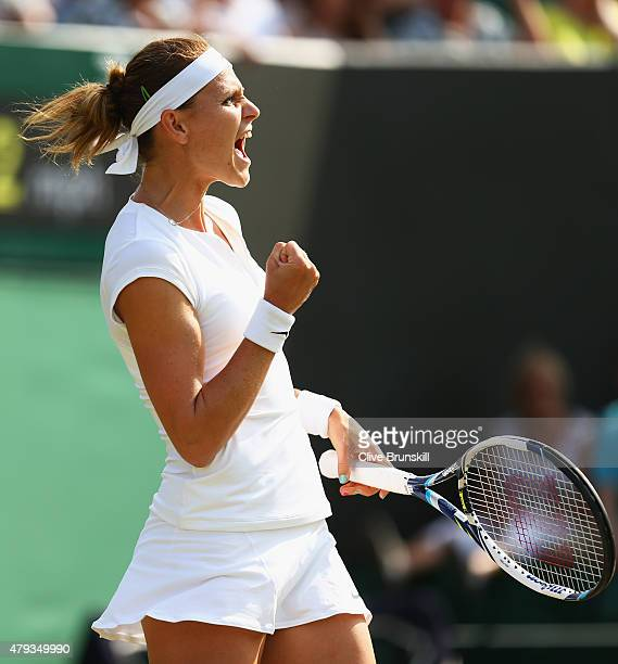 Lucie Safarova of Czech Republic celebrates match point in her Ladies' Singles Third Round match against Sloane Stephens of the United States during...