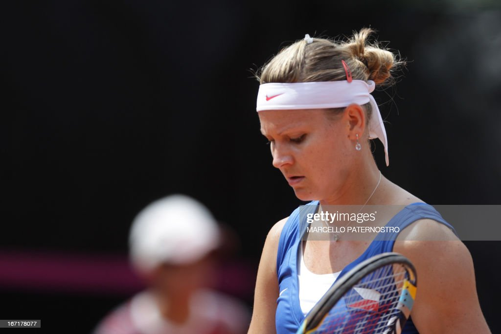 Lucie Safarova of Czech Republic concentrates during her match against Roberta Vinci of Italy during the 2013 World Group Semifinal Fed Cup tennis match on April 22, 2013. AFP PHOTO / Marcello PATERNOSTRO