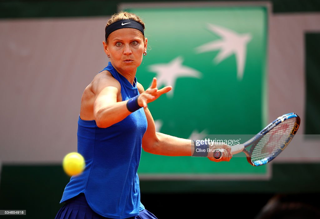 Lucie Safarova of Czech Republic hits a backhand during the Ladies Singles third round match against Samantha Stosur of Australia on day six of the 2016 French Open at Roland Garros on May 27, 2016 in Paris, France.