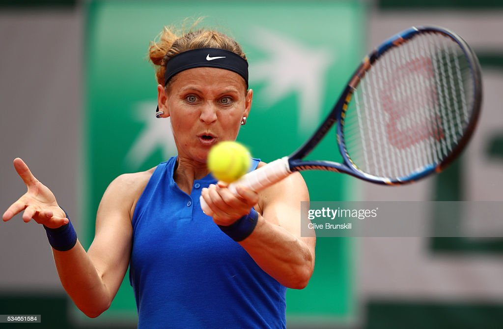 Lucie Safarova of Czech Republic hits a forehand during the Ladies Singles third round match against Samantha Stosur of Australia on day six of the 2016 French Open at Roland Garros on May 27, 2016 in Paris, France.