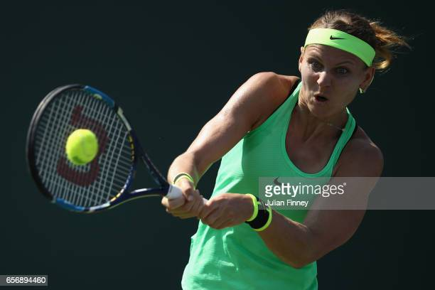 Lucie Safarova of Czech Republic in action against Daria Gavrilova of Australia at Crandon Park Tennis Center on March 23 2017 in Key Biscayne Florida
