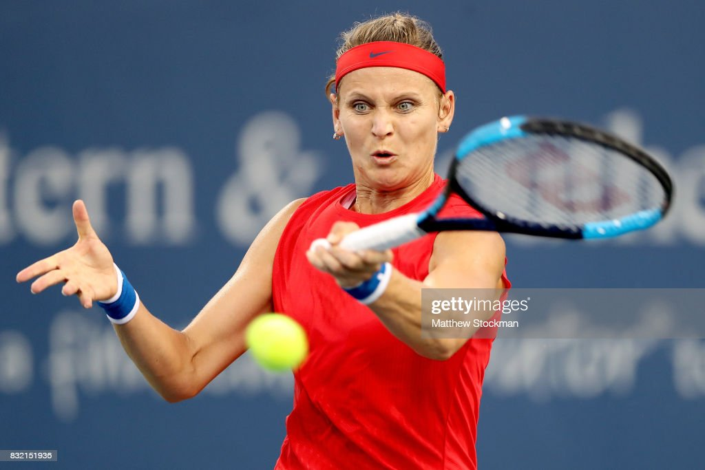 Lucie Safarova of Czech Republic returns a shot to Sloane Steohens during day 4 of the Western & Southern Open at the Lindner Family Tennis Center on August 14, 2017 in Mason, Ohio.