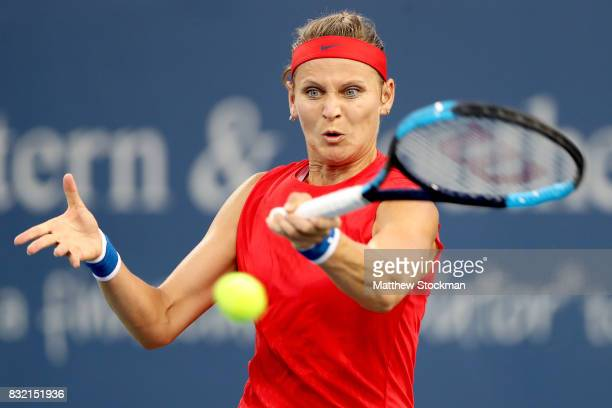 Lucie Safarova of Czech Republic returns a shot to Sloane Steohens during day 4 of the Western Southern Open at the Lindner Family Tennis Center on...