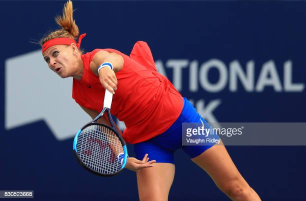 Lucie Safarova of Czech Republic serves against Sloane Stephens of the United States during Day 7 of the Rogers Cup at Aviva Centre on August 11 2017...