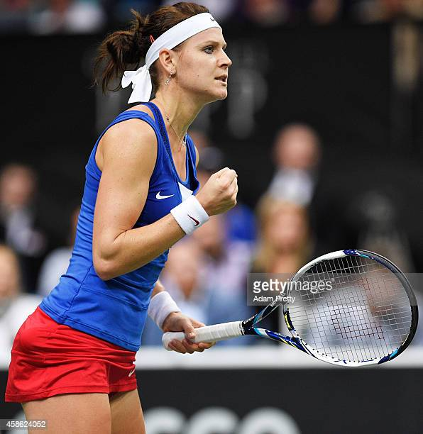 Lucie Safarova of the Czech Republic celebrates a point during the second rubber of the Fed Cup Final between Lucie Safarova of the Czech Republic...