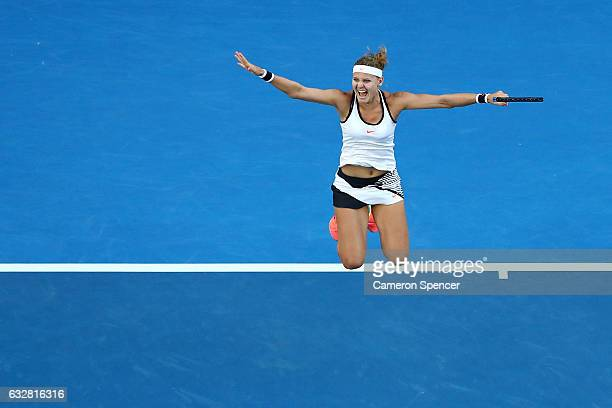 Lucie Safarova of the Czech Republic celebrates winning championship point in her Women's Doubles Final match with Bethanie MattekSands of the United...