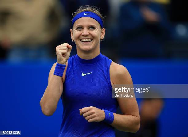 Lucie Safarova of The Czech Republic celebrates winning the quarter final match against Daria Gavrilova of Australia on day five of The Aegon Classic...