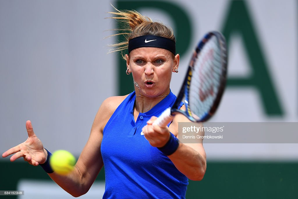 Lucie Safarova of the Czech Republic hits a backhand during the Women's Singles second round match against Viktorija Golubic of Switzerland at Roland Garros on May 25, 2016 in Paris, France.