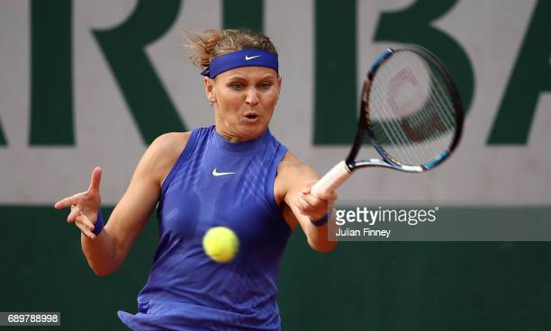 Lucie Safarova of The Czech Republic in action during the first round match against Veronica Cepede Royg of Paraguay on day two of the 2017 French...