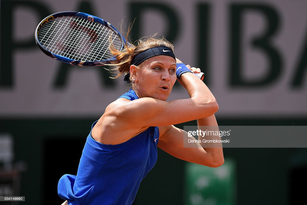 Lucie Safarova of the Czech Republic plays a backhand during the Women's Singles second round match against Viktorija Golubic of Switzerland at Roland Garros on May 25, 2016 in Paris, France.
