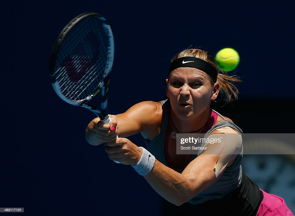 Lucie Safarova of the Czech Republic plays a backhand in her third round match against Na Li of China during day five of the 2014 Australian Open at Melbourne Park on January 17, 2014 in Melbourne, Australia.