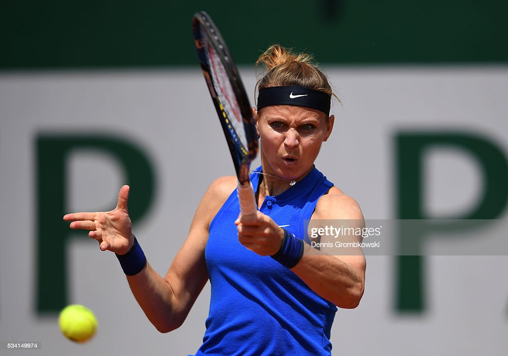 Lucie Safarova of the Czech Republic plays a forehand during the Women's Singles second round match against Viktorija Golubic of Switzerland at Roland Garros on May 25, 2016 in Paris, France.