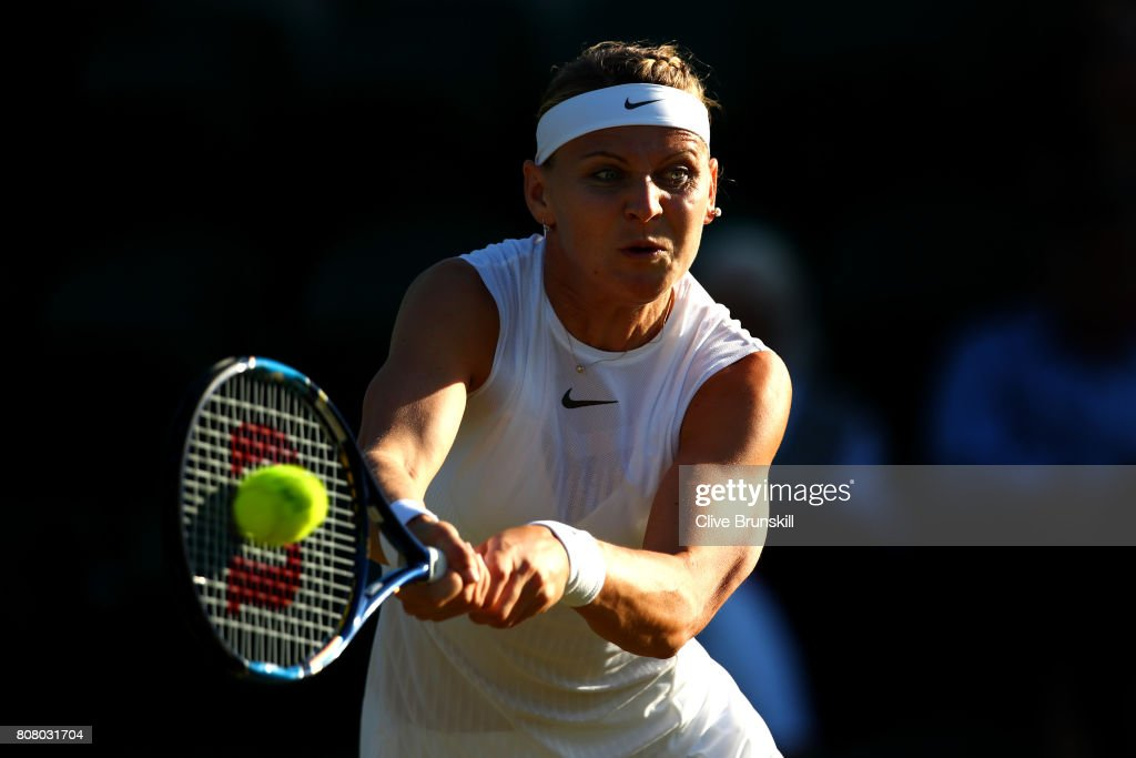 Lucie Safarova of The Czech Republic plays a forehand during the Ladies Singles first round match Oceane Dodin of France on day two of the Wimbledon Lawn Tennis Championships at the All England Lawn Tennis and Croquet Club on July 4, 2017 in London, England.
