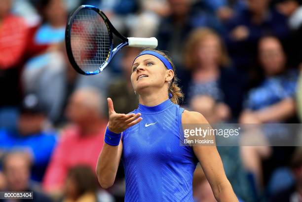 Lucie Safarova of The Czech Republic reacts during the quarter final match against Daria Gavrilova of Australia on day five of The Aegon Classic...