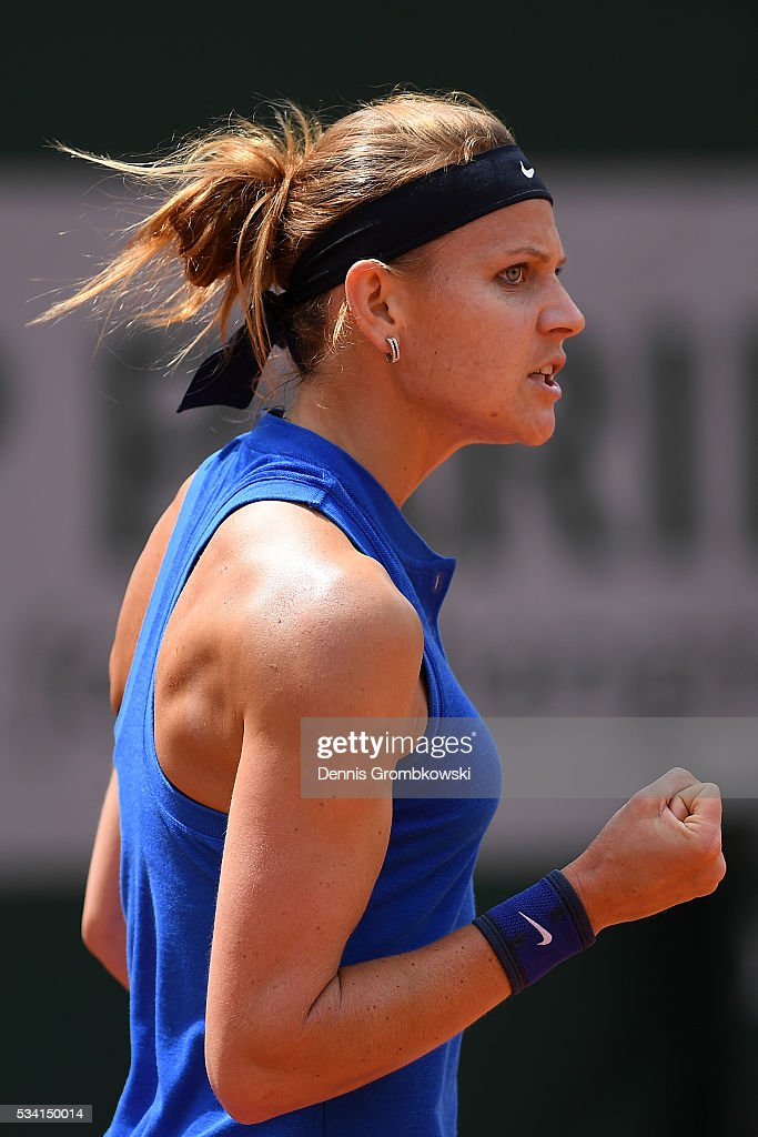 Lucie Safarova of the Czech Republic reacts during the Women's Singles second round match against Viktorija Golubic of Switzerland at Roland Garros on May 25, 2016 in Paris, France.