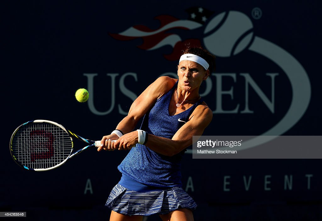 Lucie Safarova of the Czech Republic returns a shot against Saisai Zheng of China on Day Three of the 2014 US Open at the USTA Billie Jean King National Tennis Center on August 27, 2014 in the Flushing neighborhood of the Queens borough of New York City.