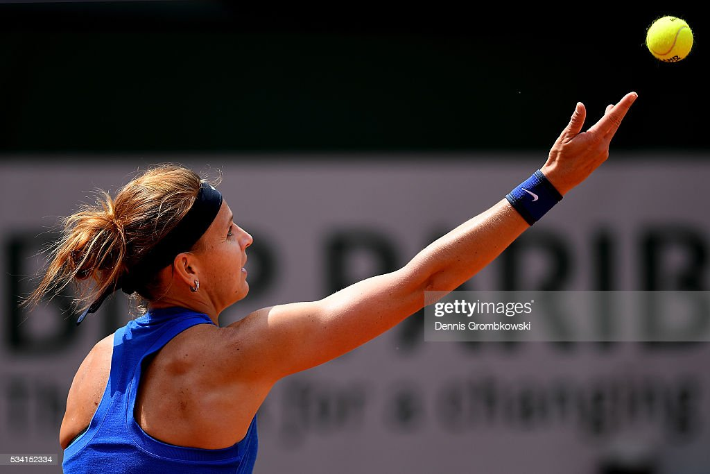 Lucie Safarova of the Czech Republic serves during the Women's Singles second round match against Viktorija Golubic of Switzerland at Roland Garros on May 25, 2016 in Paris, France.