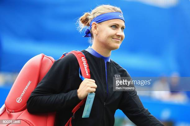 Lucie Safarova of the Czech Republic walks onto the court prior to her semi final match against Petra Kvitovaon day six of the Aegon Classic...
