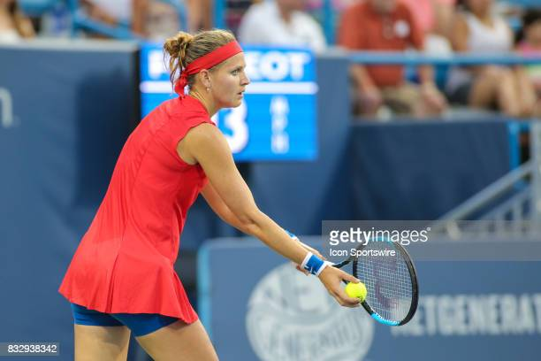 Lucie Safarova prepares to serve during the Western Southern Open at the Lindner Family Tennis Center in Mason Ohio on August 15 2017