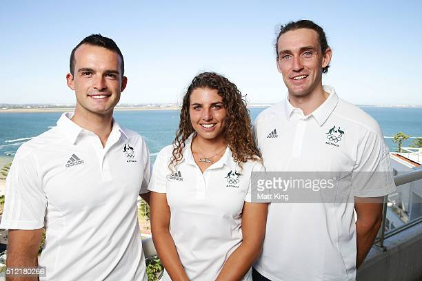 Lucien Delfour Jessica Fox and Ian Borrows pose during the Australian Rio 2016 Olympic Games canoe slalom team announcement at Novotel Sydney on...