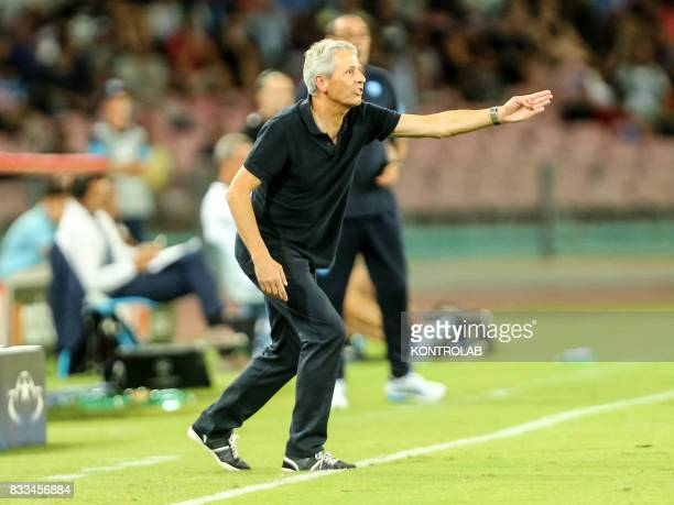 Lucien Favre coach of Nice during the match between SSC Napoli and OGC Nice to qualify for UEFA Champions League playoff Napoli wins 2 to 0 against...