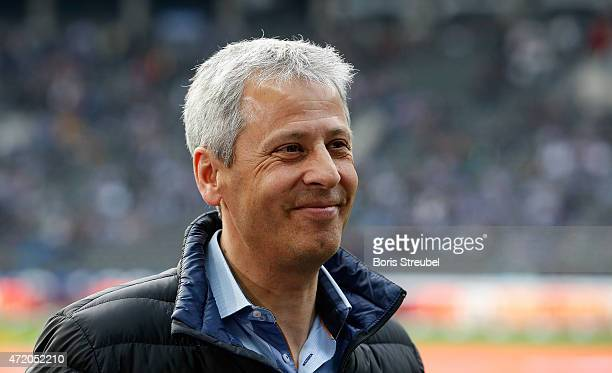 Lucien Favre head coach of Moenchengladbach looks on prior to the Bundesliga match between Hertha BSC and Borussia Moenchengladbach at Olympiastadion...