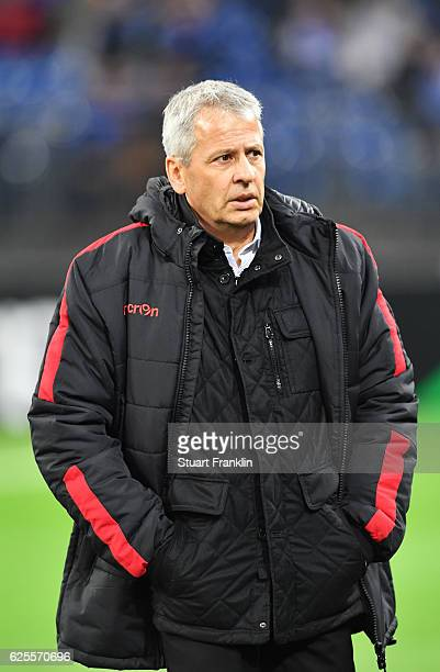 Lucien Favre manager of Nice looks on prior to the UEFA Europa League Group I match between FC Schalke 04 and OGC Nice at VeltinsArena on November 24...