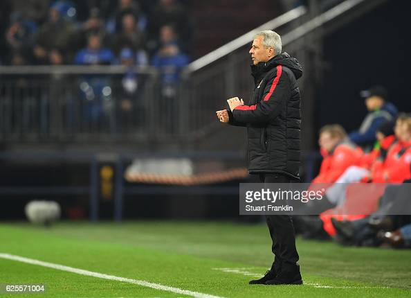 Lucien Favre manager of Nice reacts during the UEFA Europa League Group I match between FC Schalke 04 and OGC Nice at VeltinsArena on November 24...