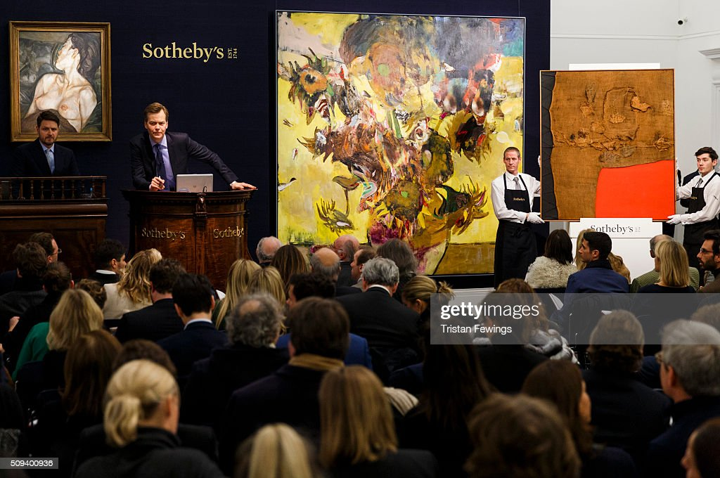 Lucien Freud's Pregnant Girl, 1960-61, Adrian Ghenie's Sunflowers in 1937, 2014, and Italian master Alberto Burri's Sacco e Rosso, c1959 are sold at the Contemporary Art Evening Sale at Sotheby's on February 10, 2016 in London, England. Freud's Pregnant Girl achieved £16.1m, a record for an early work, Ghenie's Sunflowers acheived a record £3.1m and Burri's Sacco e Rosso achieved a new record of £9.1m.