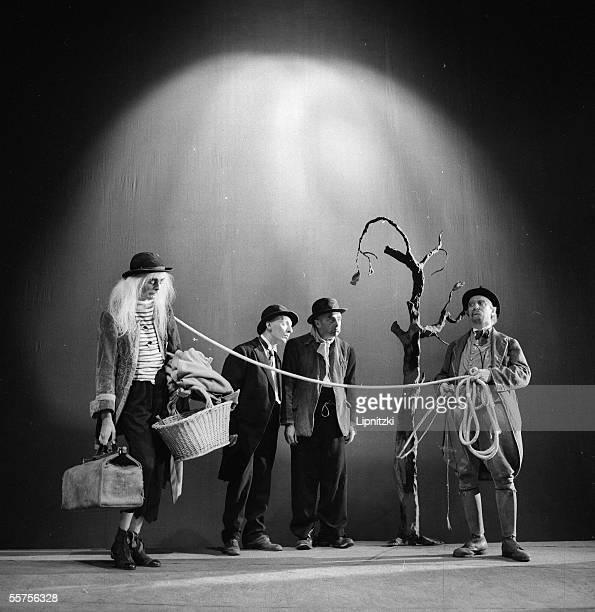 Lucien Raimbourg Pierre Latour Jean Martin and Albert Remy in ' Waiting for Godot ' of Samuel Beckett Production of Roger Blin Paris theatre Hebertot...