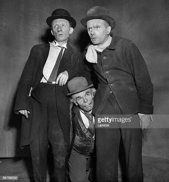 Lucien Raimbourg Roger Blin and Pierre Latour in ' Waiting for Godot ' of Samuel Beckett Production of Roger Blin Paris theatre Babylon 1953