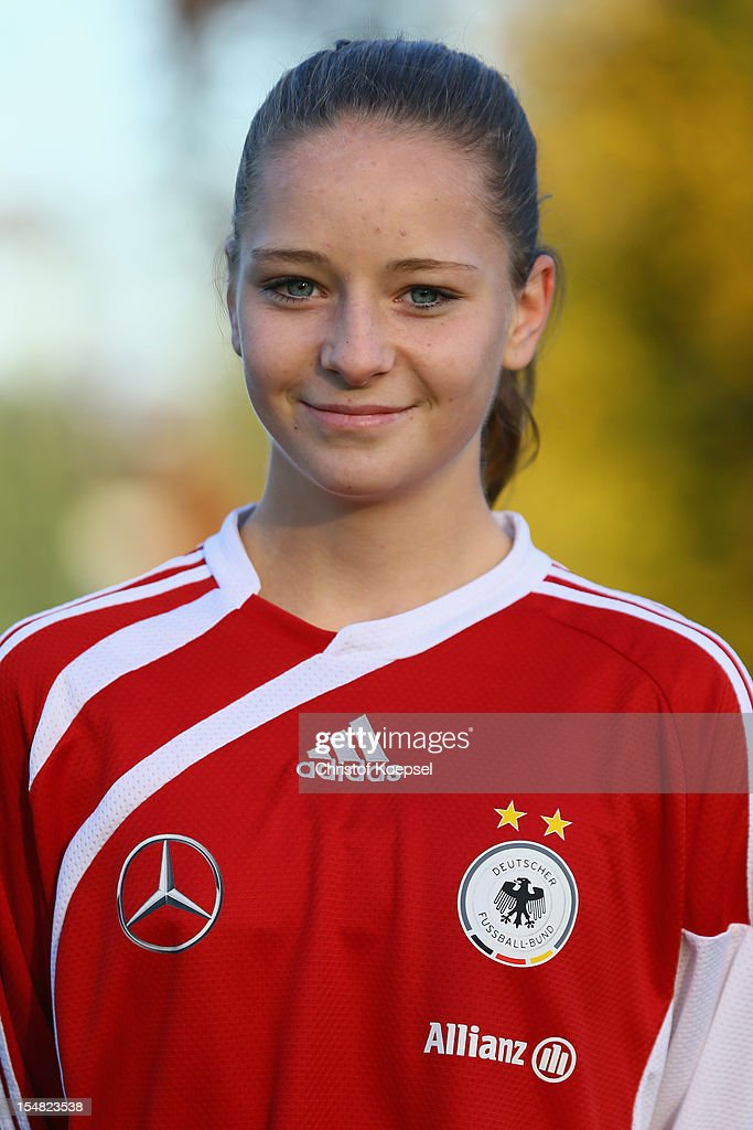 Lucienne Loy poses during the Germany Women's U17 team presentation at Sport School Wedau on October 27, 2012 in Duisburg, Germany.