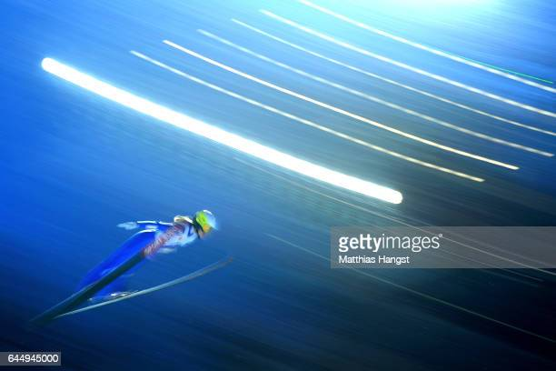 Lucile Morat of France competes in the Women's Ski Jumping HS100 during the FIS Nordic World Ski Championships on February 24 2017 in Lahti Finland