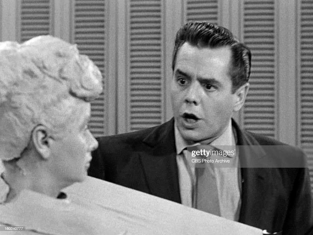 Lucille Ball as Lucy Ricardo and Desi Arnaz as Ricky Ricardo in the I LOVE LUCY episode, 'Lucy Becomes a Sculptress.' Season 2, episode 15. Original air date, January 12, 1953. Image is a screen grab.