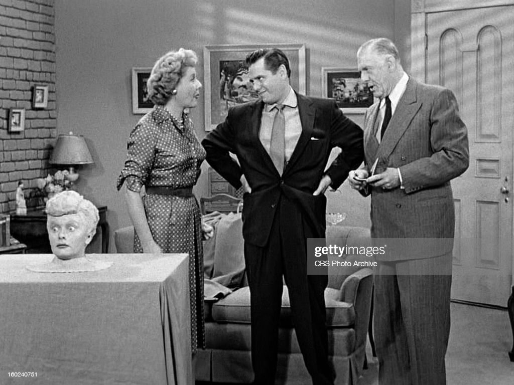 Lucille Ball as Lucy Ricardo, Vivian Vance as Ethel Mertz, Desi Arnaz as Ricky Ricardo and Shepard Menken as William Abbott in the I LOVE LUCY episode, 'Lucy Becomes a Sculptress.' Season 2, episode 15. Original air date, January 12, 1953. Image is a screen grab.