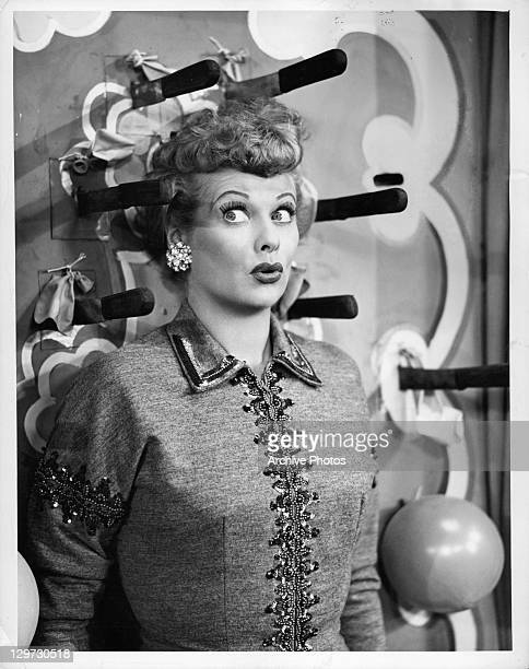 Lucille Ball has knives thrown at her in the television series 'I Love Lucy' 1951