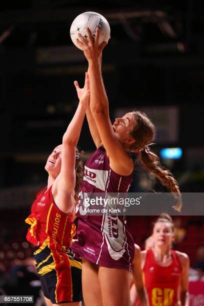 Lucinda Benjamin of the Fusion wins the ball during the round six ANL match between the Southern Force and the QLD Fusion at Titanium Security Arena...