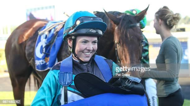 Lucinda Doodt returns to the mounting yard on Elite Tiger after winning Porter Plant Cupat SportsbetBallarat Racecourse on April 12 2017 in Ballarat...