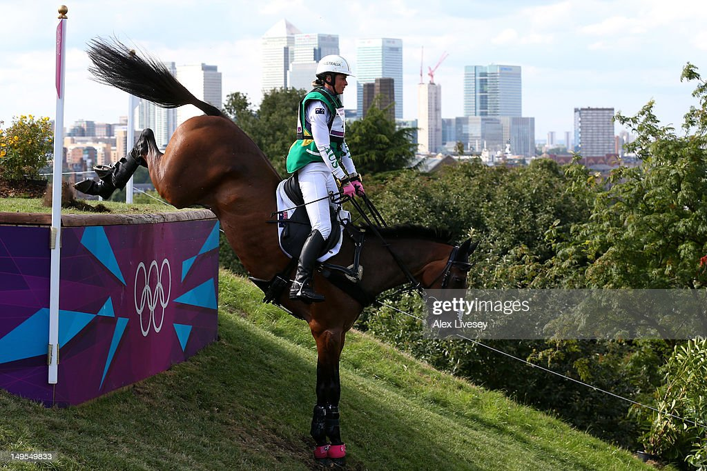 Lucinda Fredericks of Australia Flying Finish negotiates a jump in the Eventing Cross Country Equestrian event on Day 3 of the London 2012 Olympic Games at Greenwich Park on July 30, 2012 in London, England.