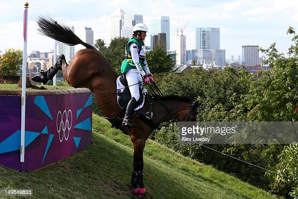 Lucinda Fredericks of Australia Flying Finish negotiates a jump in the Eventing Cross Country Equestrian event on Day 3 of the London 2012 Olympic...